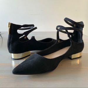 Aldo Black Pointed Gold Heeled Flats Size 7